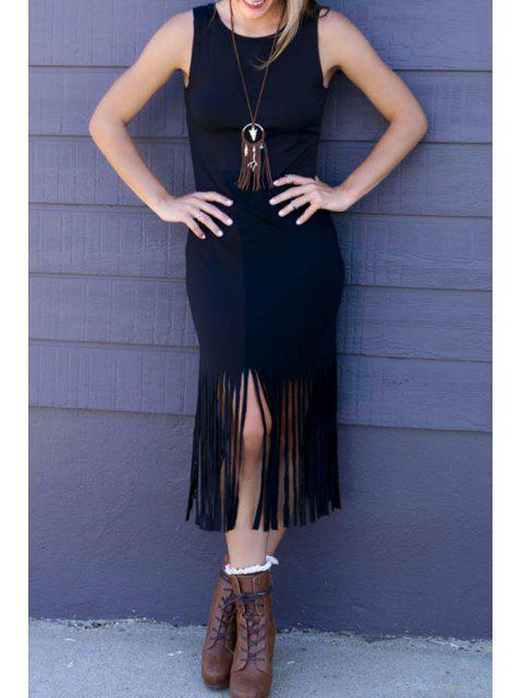 fancy Tassels Sleeveless Bodycon Dress - BLACK L Mobile