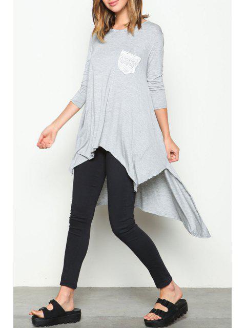 chic 3/4 Sleeve Irregular Hem Dress - LIGHT GRAY XL Mobile