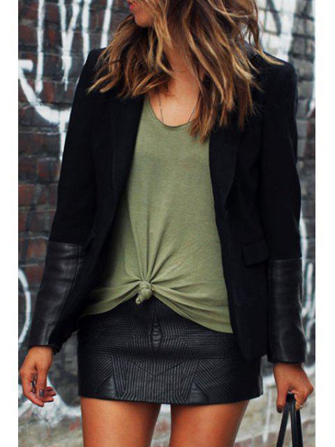 Manteau à manches longues en cuir PU - Noir M Mobile