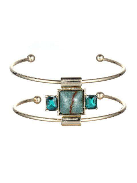 chic Faux Gemstone Square Double-Layered Cuff Bracelet -   Mobile
