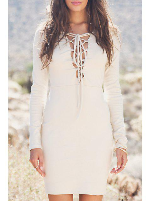 trendy Plunging Neck Lace-Up Bodycon Dress - OFF-WHITE XL Mobile