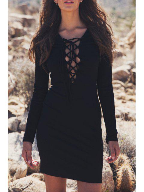 chic Plunging Neck Lace-Up Bodycon Dress - BLACK M Mobile