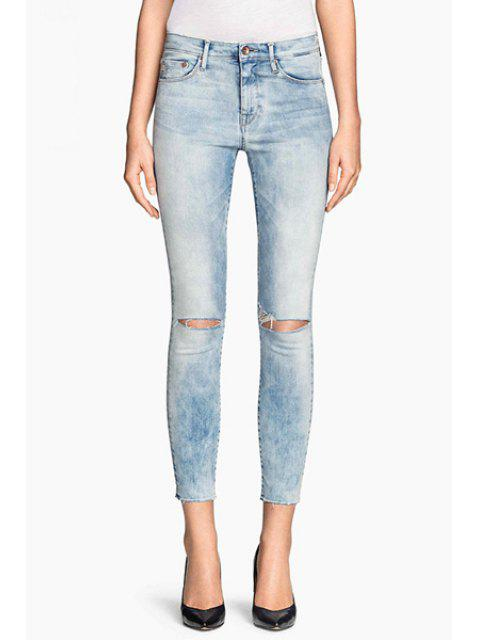outfit Bleach Wash Ripped Pencil Jeans - BLUE M Mobile