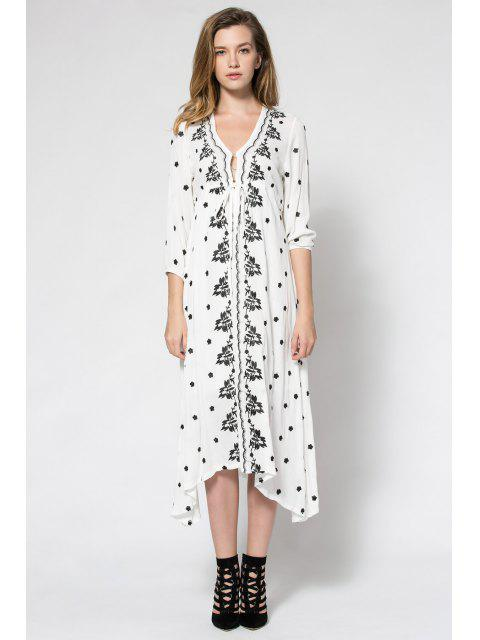 lady Tiny Floral Embroidery Tie-Up 3/4 Sleeve Dress - WHITE S Mobile