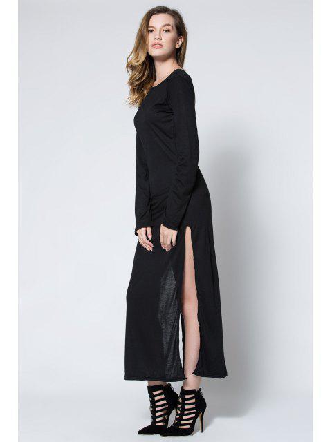women Low Back High Slit Maxi Dress - BLACK M Mobile