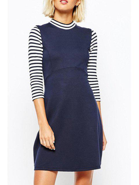 ladies Stripe Spliced Stand Neck 3/4 Sleeve Dress - NAVY BLUE XL Mobile