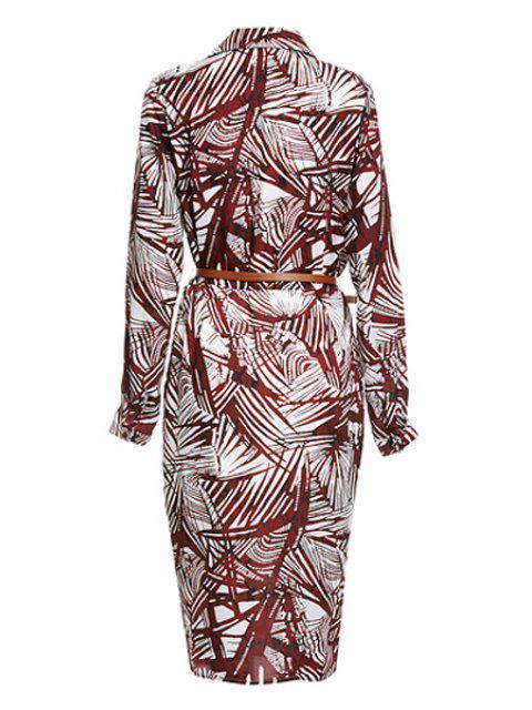 outfits Tropical Print V Neck Long Sleeve Dress - DARK RED L Mobile