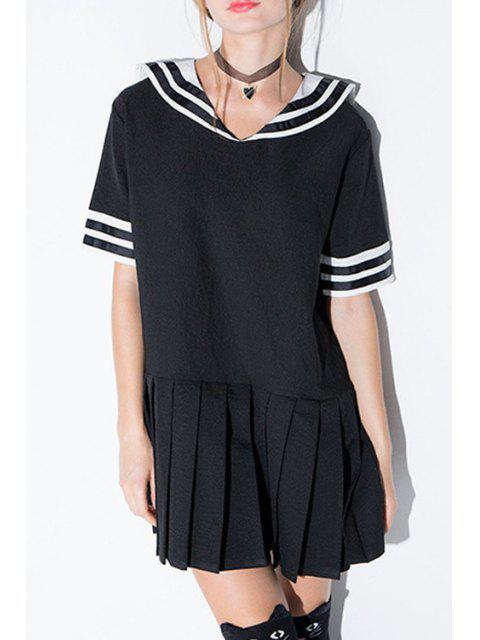 online Stripe Spliced Sailor Collar Short Sleeve Dress - BLACK M Mobile