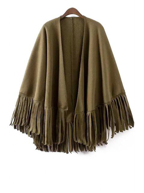 fancy Solid Color Tassels Batwing Sleeves Cape Coat -   Mobile