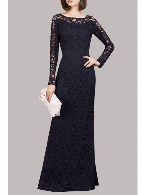 chic Openwork Lace Hook Prom Dress - BLACK M Mobile