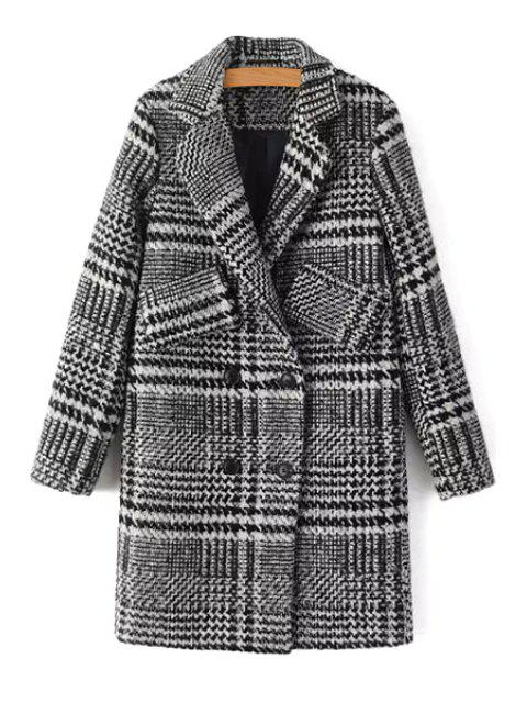 fancy Double-Breasted Houndstooth Coat - GRAY L Mobile