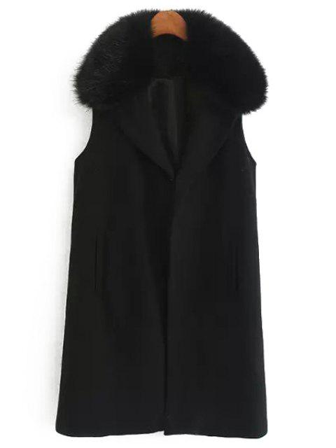 buy Faux Fur Collar Wool Waistcoat - BLACK S Mobile
