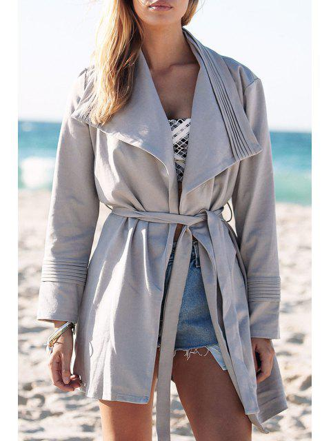 latest Light Gray Turn Down Collar Trench Coat -   Mobile