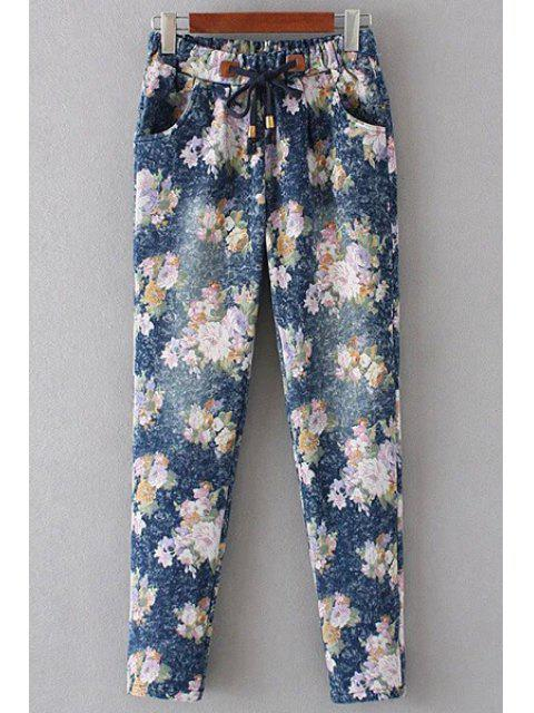 lady Floral Print Denim Women's Pockets Pants - PINK L Mobile