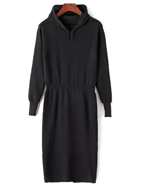 outfits Hooded Pure Color Sweater Dress - BLACK ONE SIZE(FIT SIZE XS TO M) Mobile