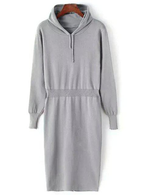 hot Hooded Pure Color Sweater Dress - GRAY ONE SIZE(FIT SIZE XS TO M) Mobile
