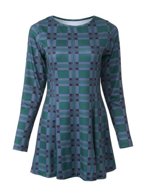 affordable Plaid Print Round Neck Long Sleeve Dress - GREEN M Mobile
