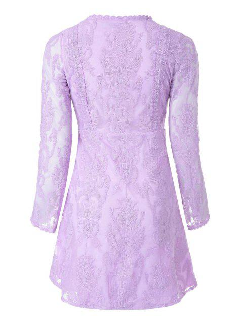 buy Deep V Neck Embroidered See-Through Dress - LIGHT PURPLE S Mobile