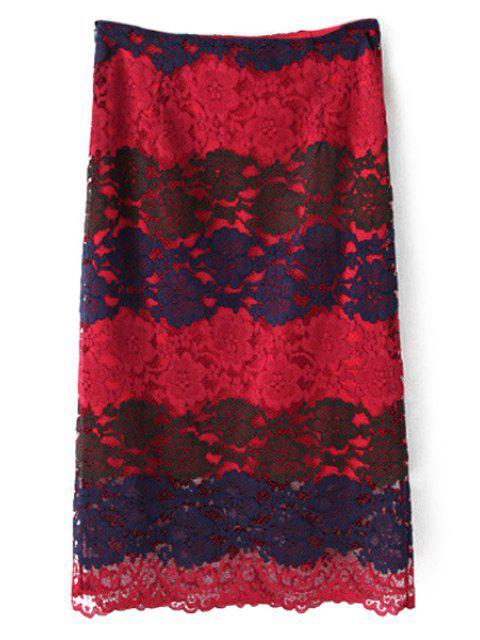 Blouson à manches longues à encolure en dentelle et jupe - Rouge L Mobile