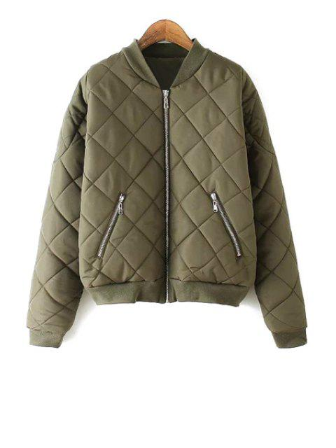 best Argyle Pattern Solid Color Stand Collar Thicken Coat - ARMY GREEN M Mobile