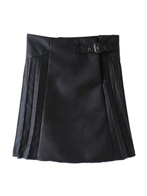 new PU Leather Pleated Solid Color Skirt - BLACK L Mobile