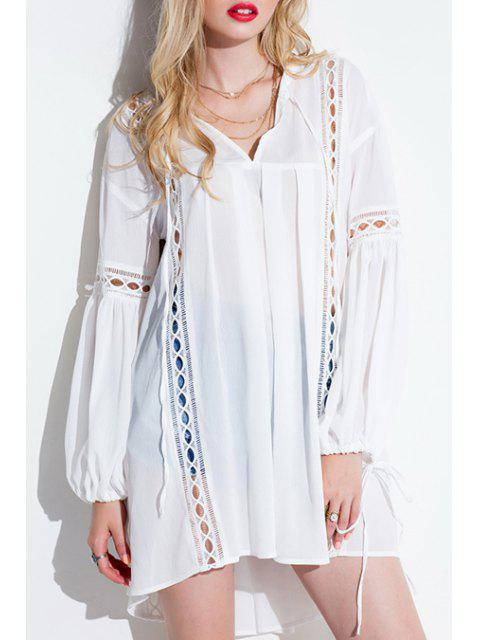 latest Lantern Sleeve White Tunic Dress - WHITE ONE SIZE(FIT SIZE XS TO M) Mobile