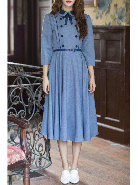 womens Solid Color Turn Down Collar 3/4 Sleeve Dress -   Mobile
