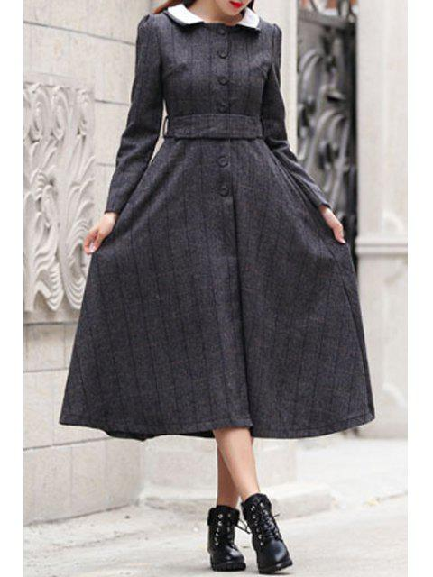 lady Checked Turn Down Collar Long Sleeves Dress -   Mobile