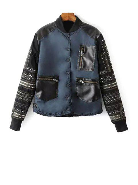 fashion Embroidery Spliced Stand Neck Baseball Jacket - CADETBLUE M Mobile