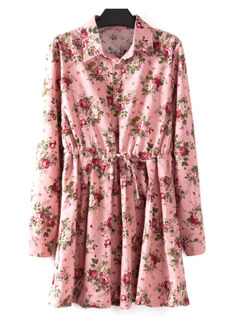 online Floral Print Plus Size Drawstring Dress - PINK XL Mobile