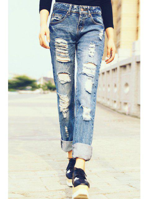 outfit Hole Straight Leg Ripped Jeans - ROYAL BLUE L Mobile