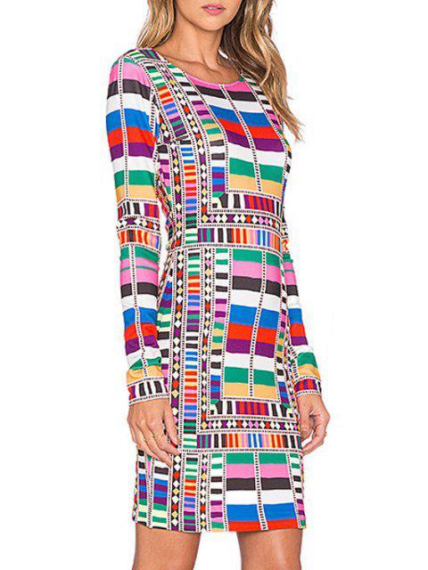 trendy Colorful Geometric Print Bodycon Dress - COLORMIX XL Mobile