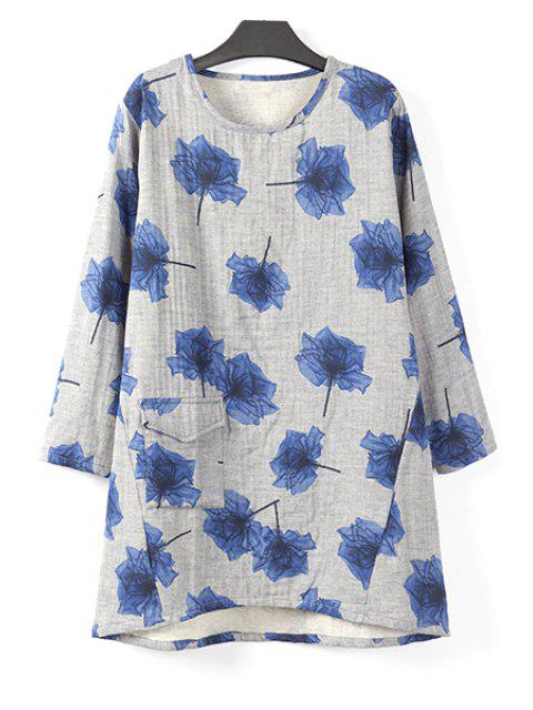 shop Flower Print Long Sleeve T-Shirt - BLUE XL Mobile
