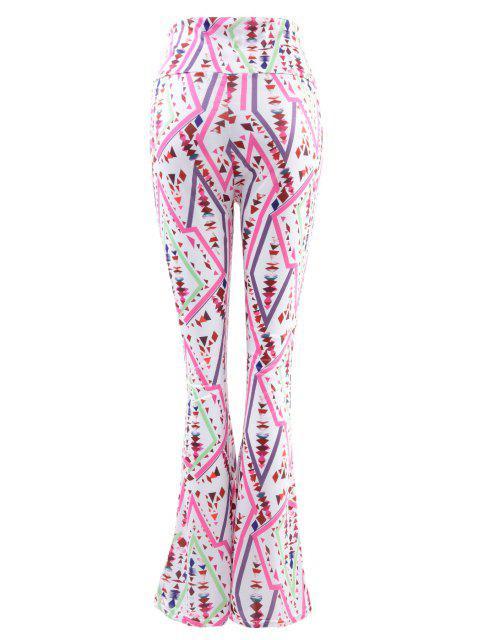 fancy Geometric Print Flare Pants - COLORFUL M Mobile