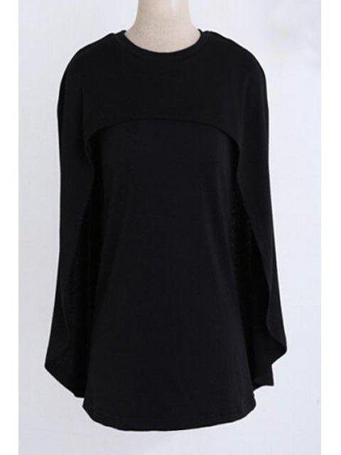 outfits Jewel Neck Cape Design Black Sweater - BLACK S Mobile