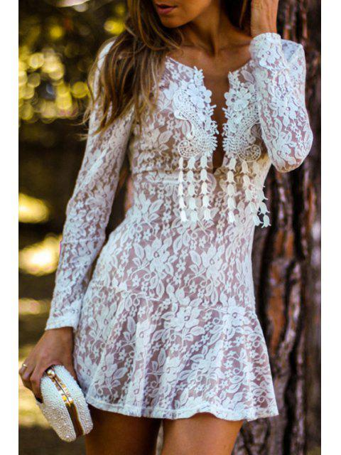 outfits White Lace Plunging Neck Mini Dress - WHITE XL Mobile