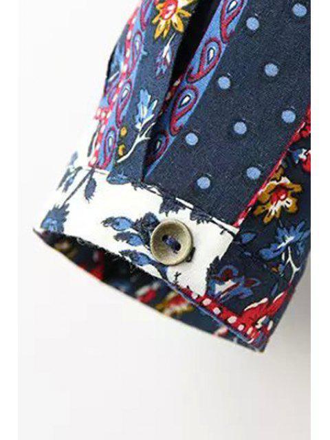 fancy Tiny Floral Print Spliced Long Sleeve Blouse - COLORMIX XL Mobile