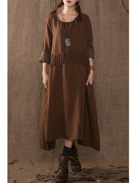 new Solid Color Rope Embellishment Long Sleeves Dress - COFFEE ONE SIZE(FIT SIZE XS TO M) Mobile