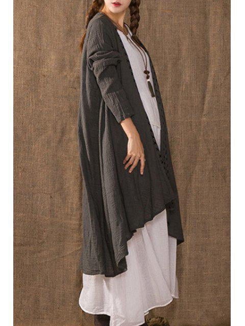 outfits Solid Color Irregular Hem Cape Long Sleeves Coat - GRAY ONE SIZE(FIT SIZE XS TO M) Mobile