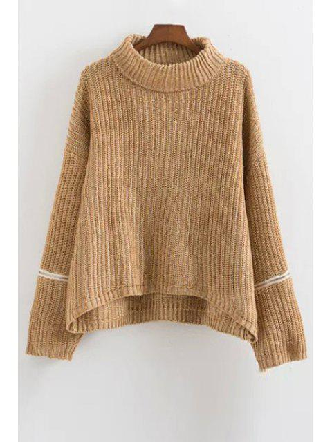 women Zipper Turtle Neck Long Sleeves Jumper - KHAKI ONE SIZE(FIT SIZE XS TO M) Mobile