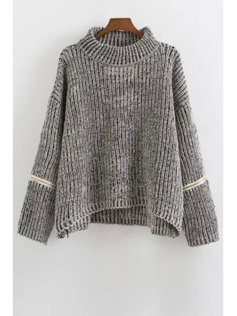 Zipper Turtle Neck Long Sleeves Jumper - gris Taille Unique(S'adap Mobile