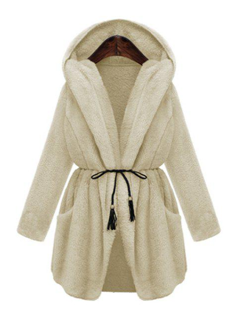women's Hooded Thicken Faux Fur Solid Color Coat - WHITE L Mobile