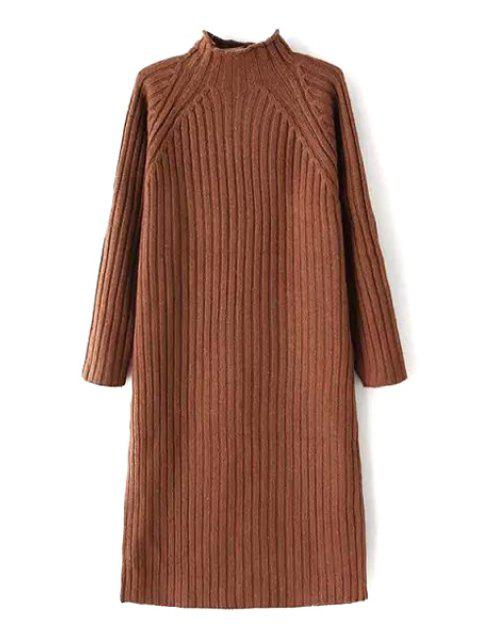 ladies Solid Color Stand Neck Long Sleeve Sweater Dress - BROWN ONE SIZE(FIT SIZE XS TO M) Mobile