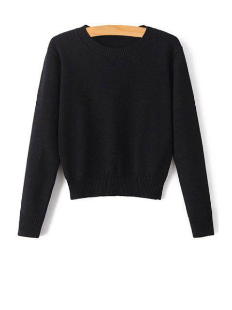 outfit Pure Color Jewel Neck Long Sleeve Jumper - BLACK S Mobile