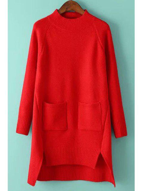 chic Solid Color Pockets Irregular Hem Sweater Dress - RED ONE SIZE(FIT SIZE XS TO M) Mobile