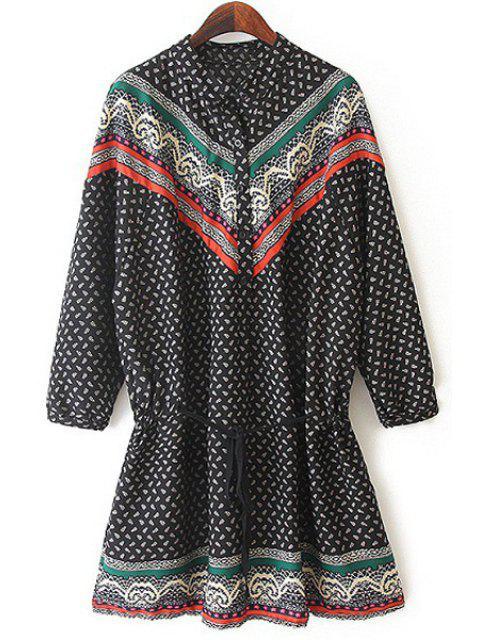 shop Ethnic Drawstring Design Chiffon Dress -   Mobile