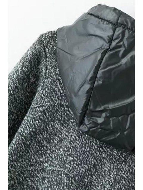 shop Solid Color Pockets Zipper Hooded Neck Cardigan - GRAY ONE SIZE(FIT SIZE XS TO M) Mobile