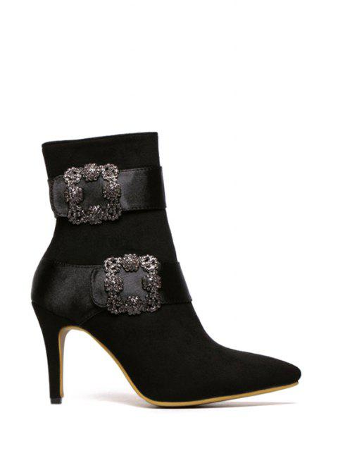 unique Square Buckle Pointed Toe Suede Short Boots - BLACK 37 Mobile