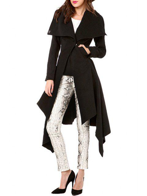 buy Waisted Solid Color Asymmetric Turn-Down Collar Coat - BLACK L Mobile