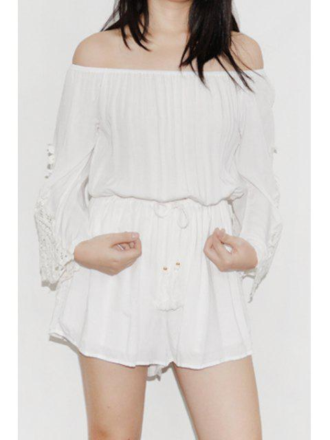 latest Off-The-Shoulder Bell Sleeve Romper - WHITE ONE SIZE(FIT SIZE XS TO M) Mobile